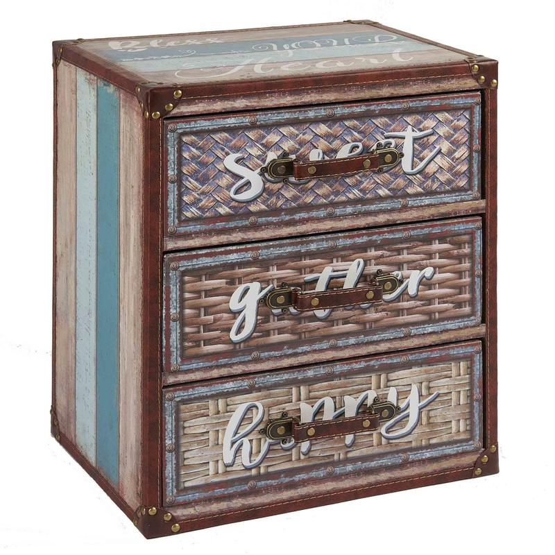 Bamboo Weaving Pattern 3-Drawer Chest Wholesale